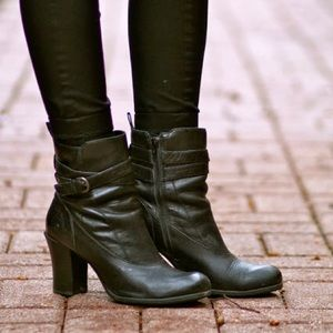 Born Black Leather Booties, Size 9